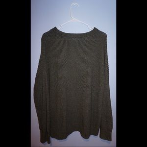 Forest green cropped knit sweater